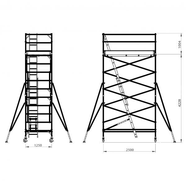 DWS 4.2m one level aluminium mobile scaffold