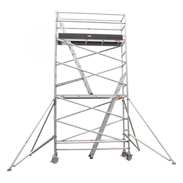 Single width aluminium scaffolding with two levels, 4.2m top platform height