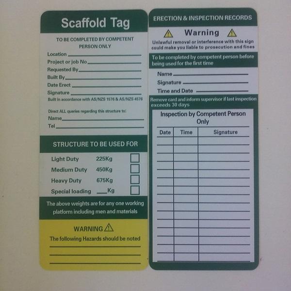 scaffold safety tag